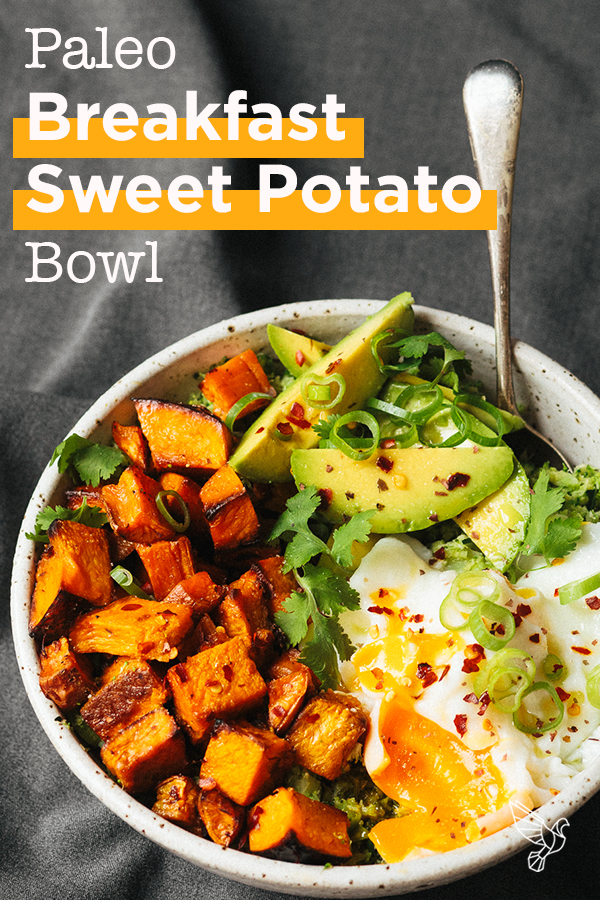 This loaded sweet potato bowl has everything you need for a power-packed breakfast: Tender veggies, rich and flavorful fats, and deliciously runny eggs.